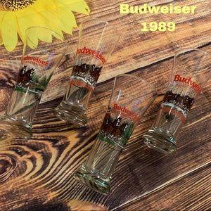 Budweiser beer drink 4 glasses 1989 8 Clydesdales